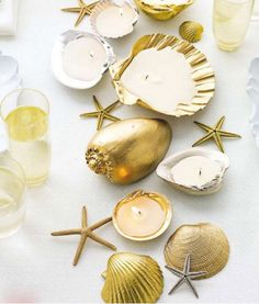 Sea Shell Wedding Candles