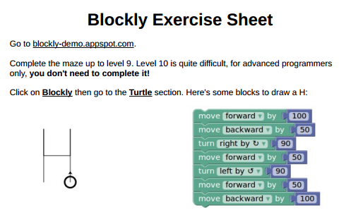 Blockly Exercise Sheet