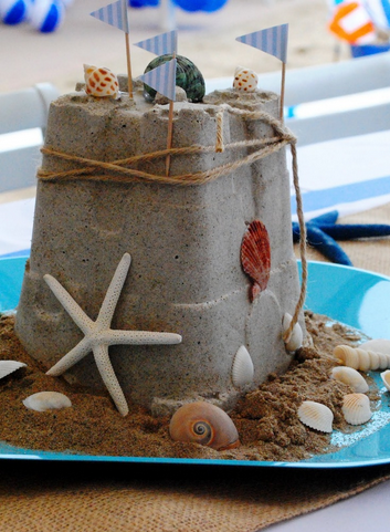 Sandcastle beach wedding centrepiece