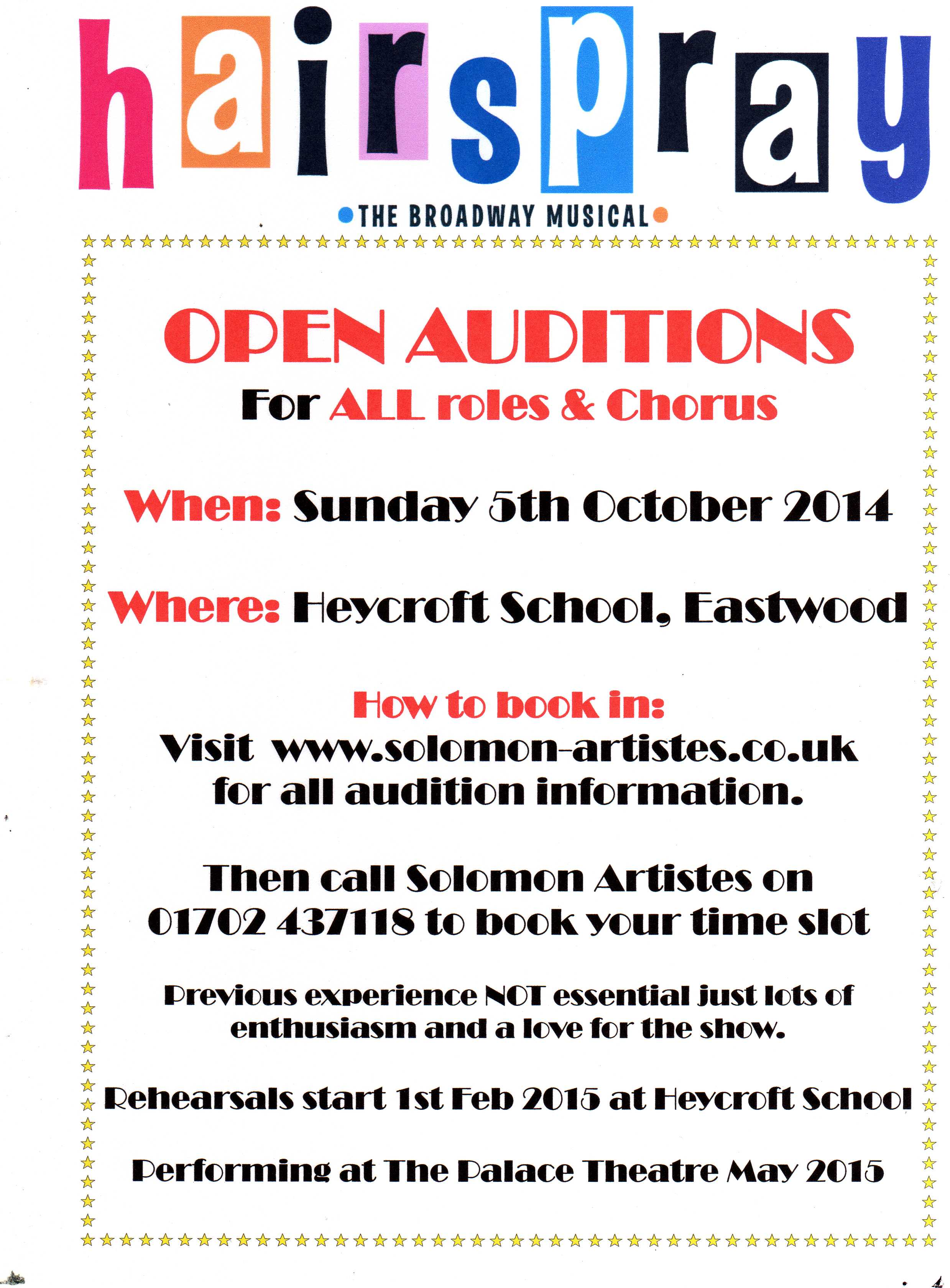 Hairspray Open Auditions - Love Southend