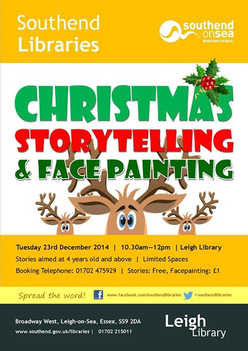 Leigh Library Christmas Facepainting
