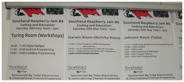 Southend Raspberry Jam #6 May 2015 Schedule