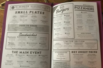Revolution food menu